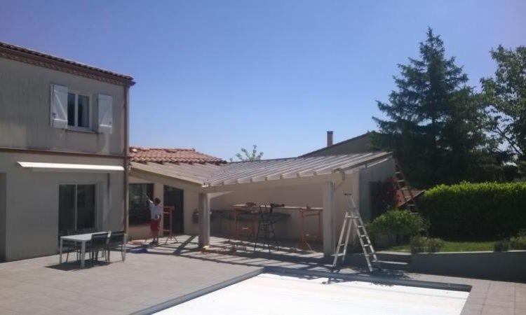 Rénovation d'une charpente de pool houseà Toulouse